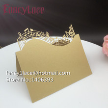 Laser Cut Paper musical note Name Place Card Wedding Table Card Holder For Party Decor Table Number, Lace Invitation Card, 50pcs
