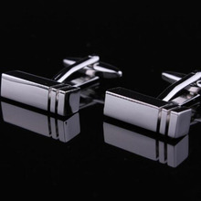 JHSL Brand Fashion men's jewelry Boy Mens wedding shirts Laser cufflinks in silver tone for party cuff links high quality(China)