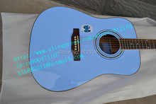free shipping new acoustic guitar with the single board guitar in blue +foam box F-1947