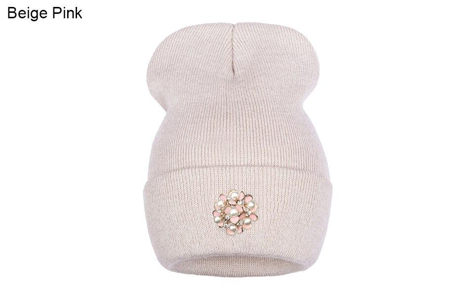 Ralferty Winter Hats For Women Flower Beanies Skullies Female bonnet femme gorros cappelli Cap Beanie gorra Black Acrylic Hat 17