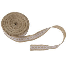 10m Hessian ribbon lace Trimmed Natural jute sack of ribbon wedding Rustic furniture(China)