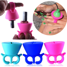 1 Pc 10 Colors Finger Wearable Nail Polish Holder Fit All Fingers Salon Nail Beauty Tools with The Cheapest Price