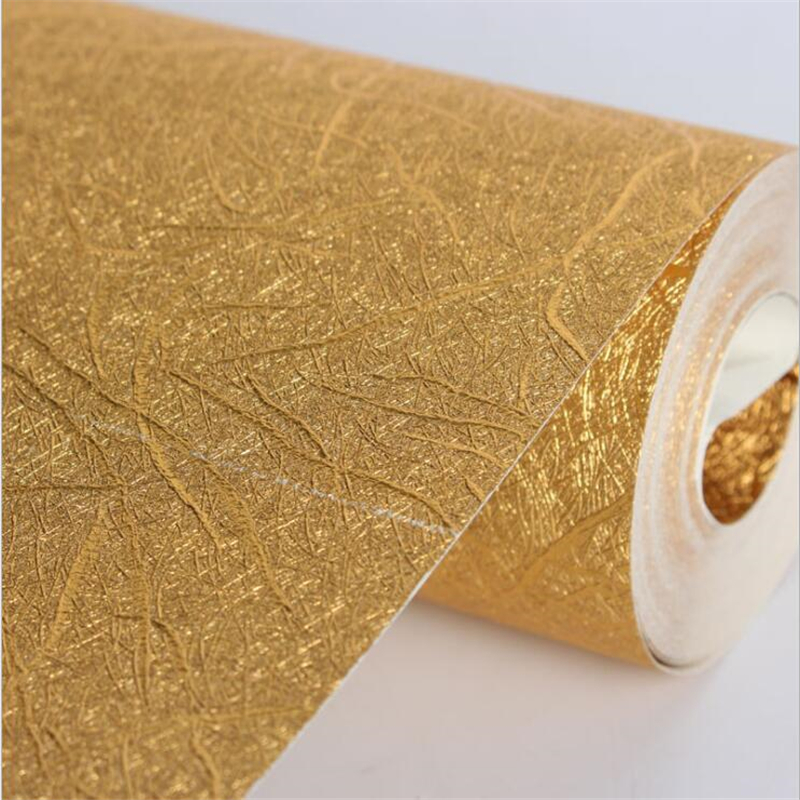 beibehang wallpaper Gold foil brushed texture gold wallpaper ktv gold scrubbing roof paper wallpaper living room wall paper<br>