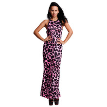2016 New Women Pink Leopard Print Dress Sexy Strap Backless Nightclub Maxi Dress Europe And America Slim Lady Party Long Dress
