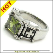 Silver Finger Rings Stainless Steel Synthetic Emerald Green Crystal Stone Cross Cocktail Party Ring for Men