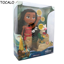 30cm Cartoon Moana Talks Sing How Far I'll Go Luminescence Friends PUA HEI HEI Pig PVC Figure Soft Stuffed Dolls