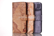 World Map design With Credit Card Slots Stand Wallet Flip PU Leather Phone Case Cover For iPhone 6 4.7,6 Plus 5.5,4 4s 5 5s