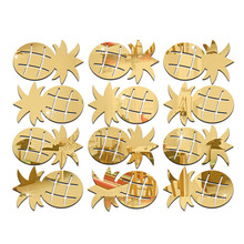 12pcs/set Cheap Pineapple Shaped Acrylic Wall Sticker DIY Decorative Mirror Decals for Living Room Bedroom Art Paper Home Decor