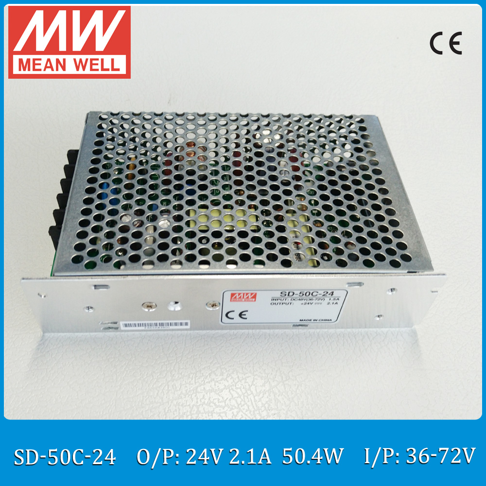 Original MEAN WELL converter SD-50C-24 Input 36~72VDC to Output 50W 2.1A 24VDC enclosed type converter<br>