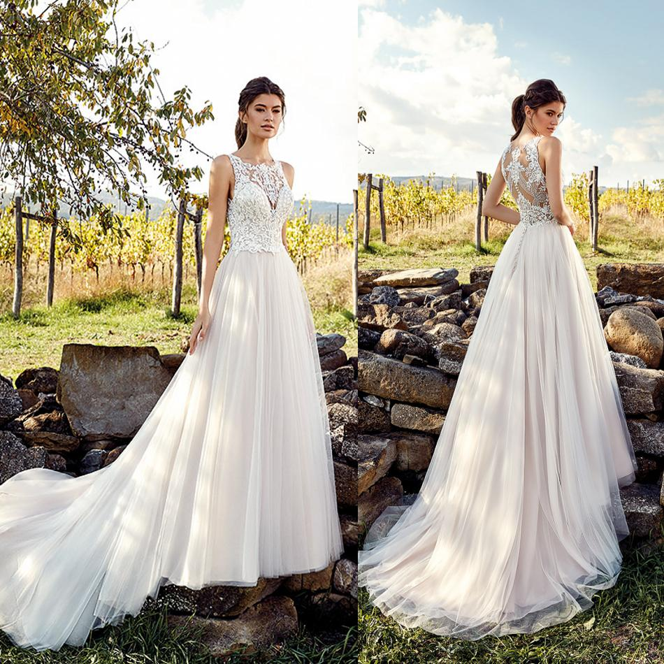 2019 New Wedding Dresses Illusion Bodice Jewel Sleeveless Lace Appliques Garden Bridal Gowns Sweep Train A Line Wedding Dress