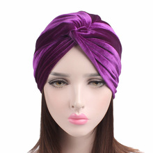 2017 Fashion Soft Velvet Twist Turban Womens Knotted Headwrap Bandanas Hair Loss Chemo Cap(China)