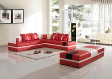 Sofas for living room modern sofa set with leather corner sofas with Big Ottoman(China)