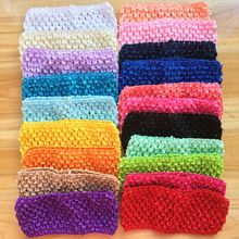"5pcs/lot 2.75"" Wide Kids crochet elastic headband children TuTu crochet hair bands knitted Turban Girl hair accessories A100(China)"
