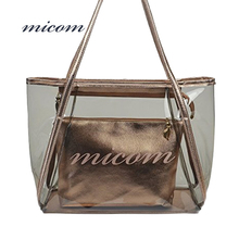 Micom Fashion Large Clear Tote Bags Women Letter PVC Beach Waterproof Bag Black/Bronze Shoulder Handbags With Interior Pocket