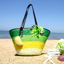 2015 New Straw Bag Hit Color Fringe Flower Beach Bag Shoulder Hand Woven handbag for travel