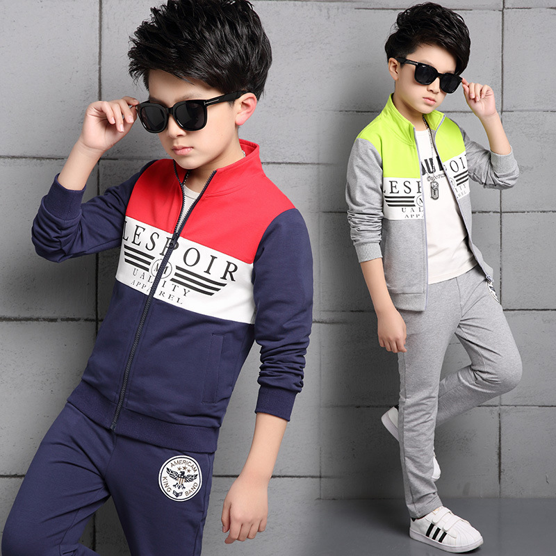 Childrens Boy Child Printing Autumn Suit Spring And Autumn Suit Split Joint Pure Catamite Autumn 2 Pieces Kids Clothing Sets<br>