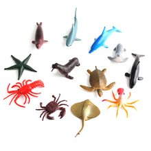 12pcs/lot 5-7cm Natural World Marine life Turtle Dolphin Starfish acton figure set best kids toys