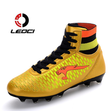 LEOCI High Ankle Soccer Shoes Fly Man Football Shoes Kids Boys New Superfly Soccer Cleats Boots Football Trainers Size 33-44