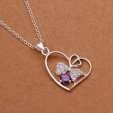 LN324 Fashion Silver Crystal Purple Stone Lunky 3 leaf Clover Heart Pendant Necklace Women Brand Jewellery Items Collier Bijoux(China)