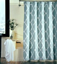 Memory Home 100% Polyester Fabric Shower Curtain Moroccan Tile Quatrefoil Spa Blue & White Waterproof Shower Curtains(China)