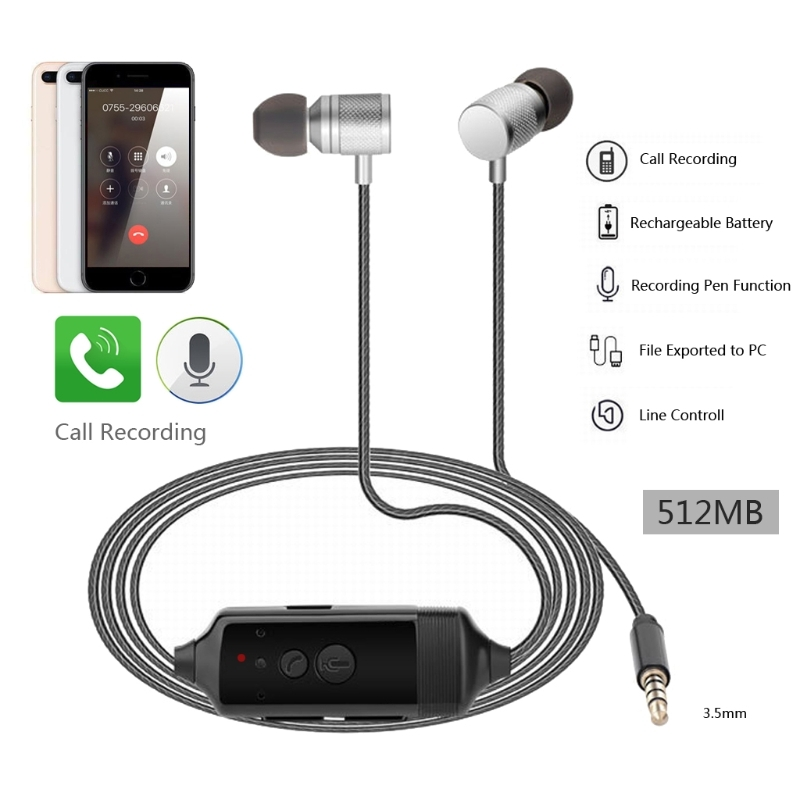 OOTDTY 3.5mm In-Ear Call Recorder Stereo Headset Earphone for iPhone6/7/8/X Android Phone Calls Recording<br>