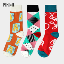 PINMI 2017 Cotton Winter Socks Men British Style Happy Long Socks Fashion Graffiti Design Skateboard Colorful Warm Socks 3 Pair