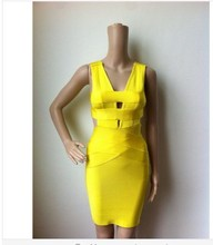 Neon yellow cut out v neck hollow out knitted rayon women hl bandage dress wholesale