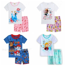 Retail! New Children's Sleeping Set Elsa & Anna Pyjamas Baby Sleepwear Clothing Girls Short Sleeve Princess Pajamas Kids Wear