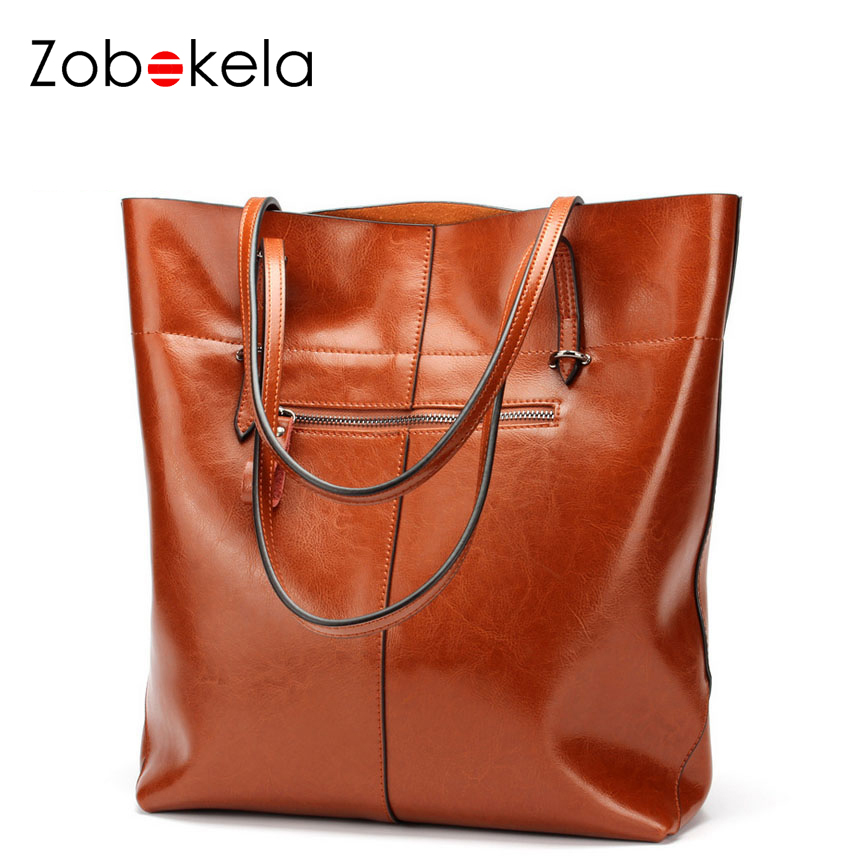 ZOBOKELA 100% genuine leather bag ladies designer handbags high quality big size shoulder bag women luxury famous brand bolsos<br>