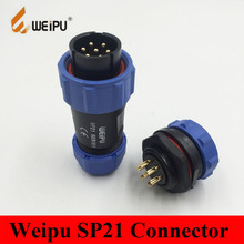 Weipu Connector SP21 2 3 4 5 7 9 12 Pin IP68 Circular Kit Pair Male Plug + Female Socket Connector Dust Cap SP2110/P* SP2112/S*