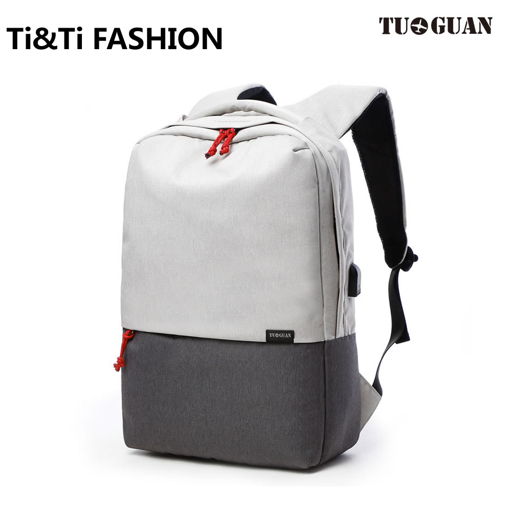 Original TUGUAN Simple Classic Backpack Charging backpack Fashion Schoolbags High Capacity for 15 inch Computers 17L Leisure Bag<br>