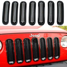 7PCS Black ABS Mesh Front Insert Grille Trim Cover Without Lock Hole For Jeep Wrangler JK 2007-2015