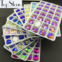 All Sizes Colors AB Rivoli Glass Crystal Sew On Rhinestones 8mm,10mm,12mm,14mm,16mm Flatback Round Sewing Jewelry Beads