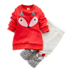 ins hot toddler Baby Girls Clothing set adorable Children's winter Clothing kids Long Sleeve Fox Tops+Pant Sets thick sweatshirt