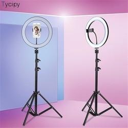 Tycipy светодиодный кольцевой светильник для селфи 24 Вт 5500 к студийная фотография фото заполняющее кольцо с треногой для iphone смартфон макияж