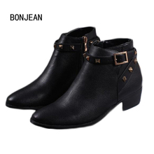 Women Leather Rivets Booties Buckle Straps Winter Ankle Boots Thick Heel Studded Decorated Motorcycle Boots Woman Riding Boots(China)