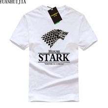 2017 Game of Thrones Wolf T-shirt Stark Winterfell Cotton Tee shirt Winter is coming Streetwear Funny Swag T shirt(China)