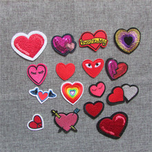2016 year fashion style heart patterned hot melt adhesive applique embroidery patches stripes DIY clothing accessory C436-C5154
