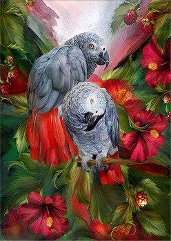 Diy Diamond Painting Cross Stitch Two parrots Round Rhinestone Diamond Embroidery Animals Diamond Picture