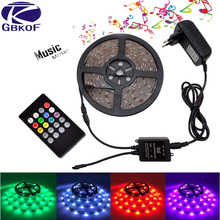 GBKOF 5050 3528 RGB led strip light 5M 10M Waterproof SMD Diode Tape led Ribbon With Music Remote Controller DC12V Power Adapter