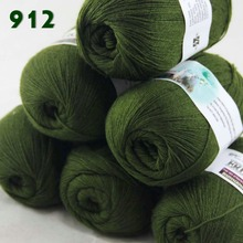 Lot of 6 Skeins Fine Lace Soft Wool Acrylic Cashmere Yarn Knitting Olive green 912(China)