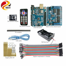DOIT 1 set IR Control Kit with Arduino UNO R3 Board+ Motor Drive Shield for Robot Crawler Tank Car Chassis by APP Phone RC Toy(China)
