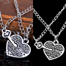 2016 1 Pair Love Heart Key Pendant Necklace Best Friends Lovers Couple Jewelry Charm