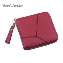 Korean style geometric small short red ladies wallet high quality PU leather women purses designer change bag card holder 4color(China)