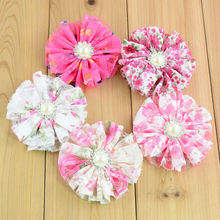 Trial Order 20pcs/lot New Sewed Lace Flowers With Rhinestone Alternative Chiffon Hair Flower Accessories Free Shipping FH64
