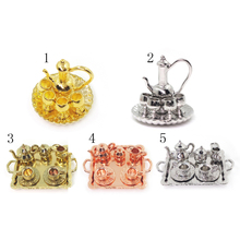 10 Pcs 1:12 Dollhouse Miniature Metal Tea Wine Coffee Set Tableware Classic Toy Pretend Play Doll House Decor for Child Kid Gift(China)