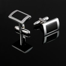 2017 New Simple Style Black Rectangle Cufflinks Mens Shirt Cuff Button Christmas Gifts for Men Laser Plating Cuff link gemelos(China)