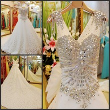 Custom made 2017 ball gown luxury real wedding dress wedding gowns with diamonds and crystals china brand free shipping 75