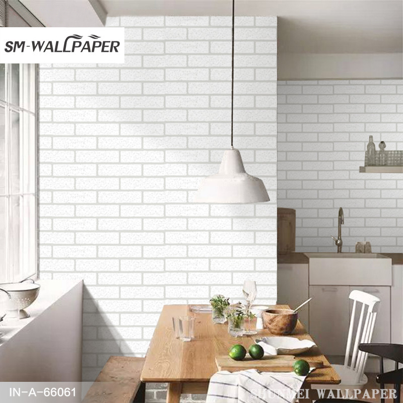 Modern 3D Brick White PVC Thick Embossed Wall Covering Wall Paper Roll Background Walls Living Room Bedroom Wallpaper 10M<br>
