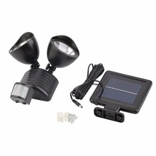 22  LED Motion Activated Outdoor Security Floodlight with Light Sensor and Solar Charger two color white and black